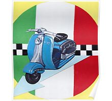 Scooter on italian flag Poster