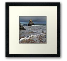 Sango Bay Waves and Sea Stack Framed Print