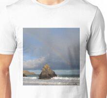 Rainbow above Sango Bay Sea Stack Unisex T-Shirt