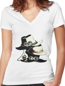 ONE PIECE - LUFFY, ACE, SABO'S HAT Women's Fitted V-Neck T-Shirt