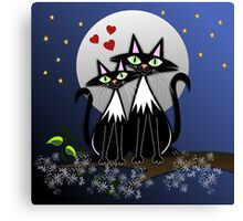 Cats in Love, vector illustration Canvas Print