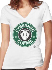 Cybermen Coffee Women's Fitted V-Neck T-Shirt