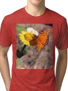 BEAUTIFUL ORANGE BUTTERFLY GATHERING NECTAR Tri-blend T-Shirt