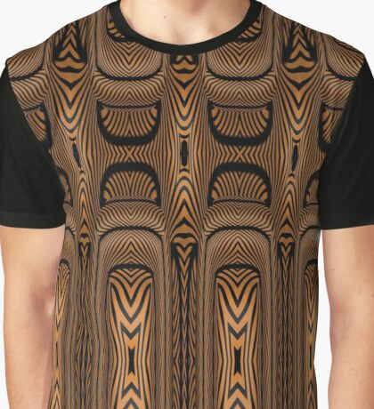 Jungle Design Tapas in Browns and Black Contoured Design Graphic T-Shirt