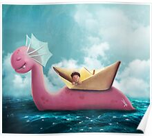 Pink Sea Monster Poster