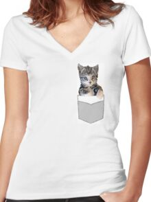 Peanut in a Pocket Women's Fitted V-Neck T-Shirt