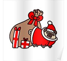 Christmas Santa Claus Pug Poster
