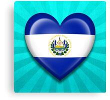 El Salvador Heart Flag Canvas Print
