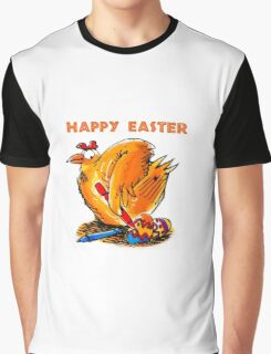 happy easter caricature chicken paint own eggs Graphic T-Shirt
