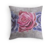 Purple and Red Watercolor Roses  Throw Pillow