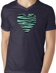 0526 Pearl Aqua Tiger Mens V-Neck T-Shirt