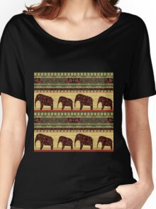 African print with elephants Women's Relaxed Fit T-Shirt