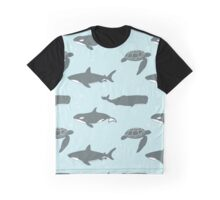 Sea Turtle, Shark and Whale. Graphic T-Shirt