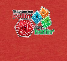 Polyhedral Pals - They See Me Rollin' - They Hatin' - d20 & d10s Tri-blend T-Shirt