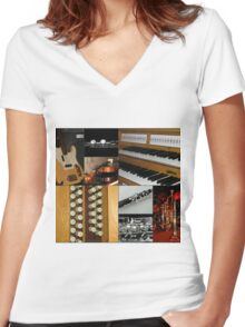 Musical Instruments Collage Women's Fitted V-Neck T-Shirt
