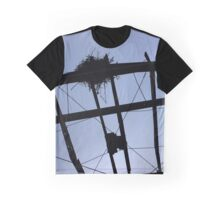 Silhouette Of An Bird Nest On A Damaged Metal Roof Frame | East Marion, New York Graphic T-Shirt