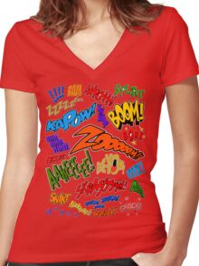 Onomatopoeia Collage #1 (1 of 2) Women's Fitted V-Neck T-Shirt