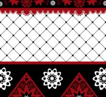 Red and black seamless lace pattern with fishnet on white background Sticker