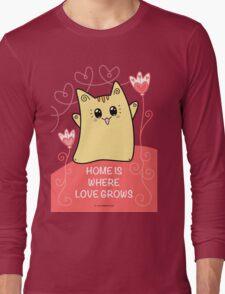 Cute Kawaii Cat Neko Yoko - Home of Love Long Sleeve T-Shirt