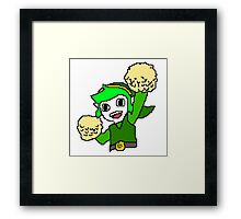 Legend of Zelda Pixelart - Pom pom Link 128x128 (Green) Framed Print