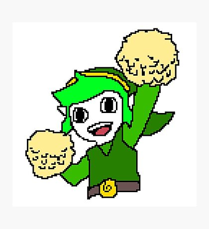 Legend of Zelda Pixelart - Pom pom Link 128x128 (Green) Photographic Print