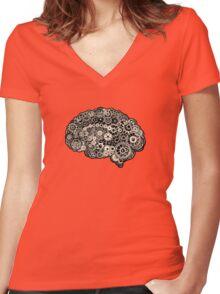 Mechanical Brain Women's Fitted V-Neck T-Shirt
