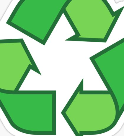 Recycling symbol stickers and tote bags, three shades of green Sticker