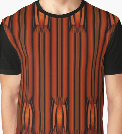 Rich Umber Brown and Black Jungle Design Graphic T-Shirt
