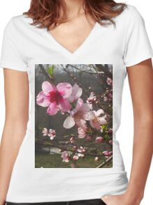 Peach Blossoms Women's Fitted V-Neck T-Shirt