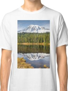 Mount Rainier and Reflection Lakes in the Fall Classic T-Shirt