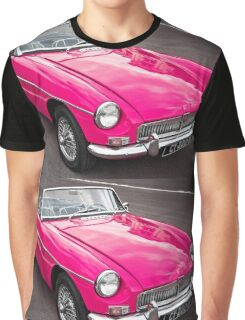 Pink convertible MG classic car Graphic T-Shirt