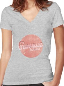 PAWNEE INDIANA Women's Fitted V-Neck T-Shirt