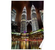 KL Petronas twin tower by night Poster