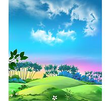 landscape with palms against the blue sky Photographic Print