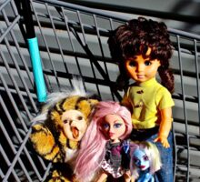 Shopping Trolley Selfie Dolls  Sticker