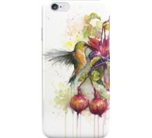 Hummingbird Eating from Fuchsia Flower Watercolor iPhone Case/Skin