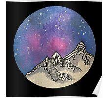 Moon Galaxy Mountain Travel Wanderlust Stars Space Boho Hipster Print Poster