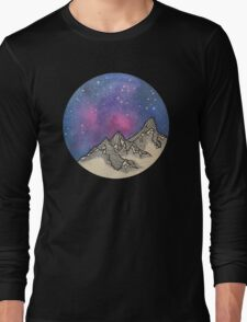 Moon Galaxy Mountain Travel Wanderlust Stars Space Boho Hipster Print Long Sleeve T-Shirt