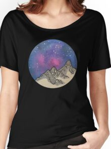 Moon Galaxy Mountain Travel Wanderlust Stars Space Boho Hipster Print Women's Relaxed Fit T-Shirt