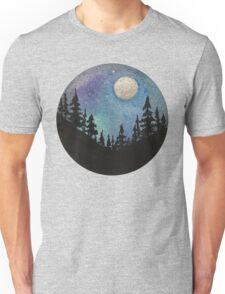 Forest Nature Hiking Travel Wanderlust Galaxy Moon Hipster Camping Print Unisex T-Shirt