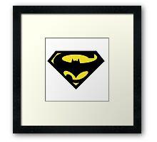 mixed super hero logo Framed Print
