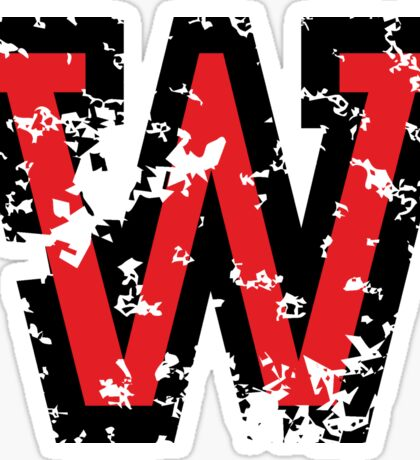 Letter W (Distressed) two-color black/red character Sticker