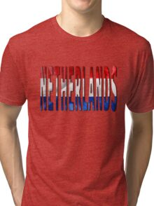 Netherlands Word With Flag Texture Tri-blend T-Shirt