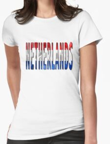 Netherlands Word With Flag Texture Womens Fitted T-Shirt