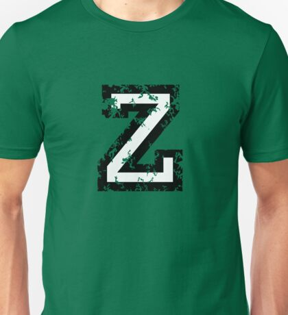 Letter Z (Distressed) two-color black/white character Unisex T-Shirt
