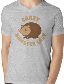 Crazy hamster lady (circle) Mens V-Neck T-Shirt