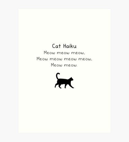 Cat Haiku Art Print