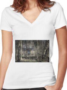 Through the Alder Wood Women's Fitted V-Neck T-Shirt