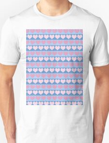 Pink Pastel Hearts and Blue Stripe Pattern Unisex T-Shirt