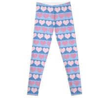 Pink Pastel Hearts and Blue Stripe Pattern Leggings